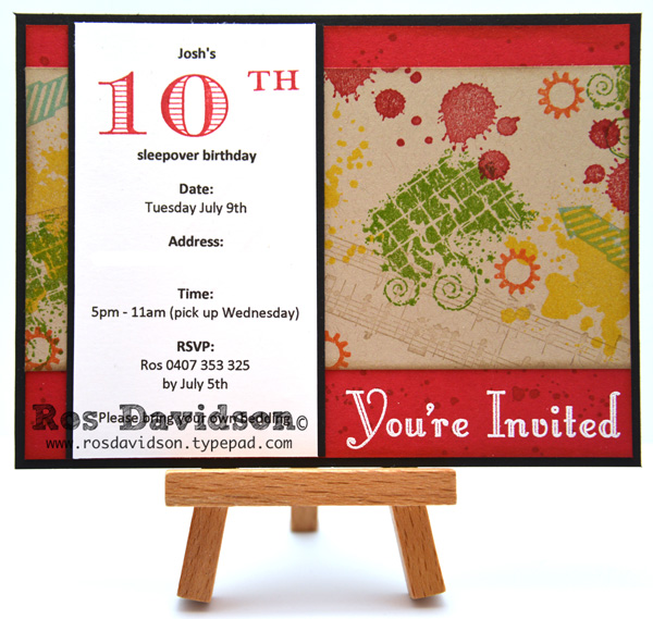 Ros Davidson Independent Stampin Up demonstrator Melbourne – 10th Birthday Invitations