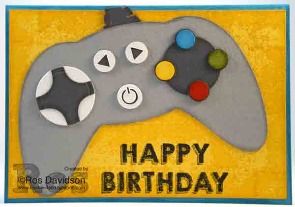 Game controller card, stampin up, party wishes, party with cake, timeless textures, birthday