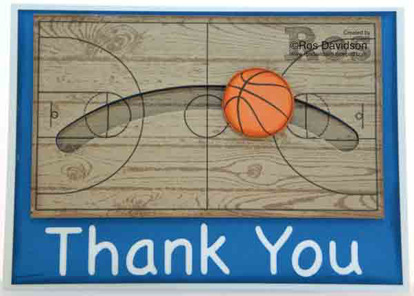 Stampin' Up!, hardwood, thank you, basketball, slider card