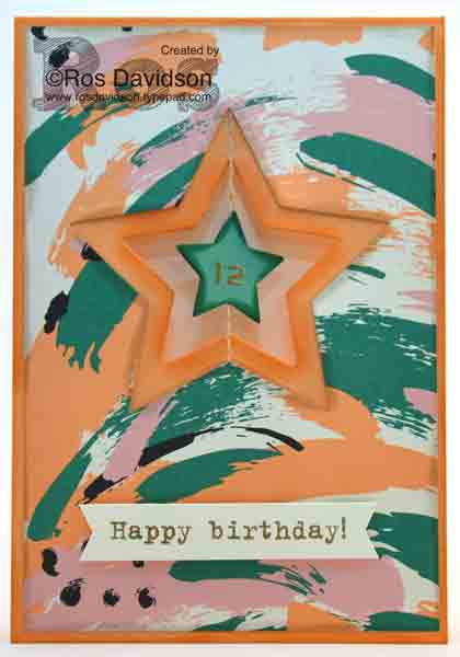 Stampin up, party with cake, labeler alphabet, big shot, suspended spinner card