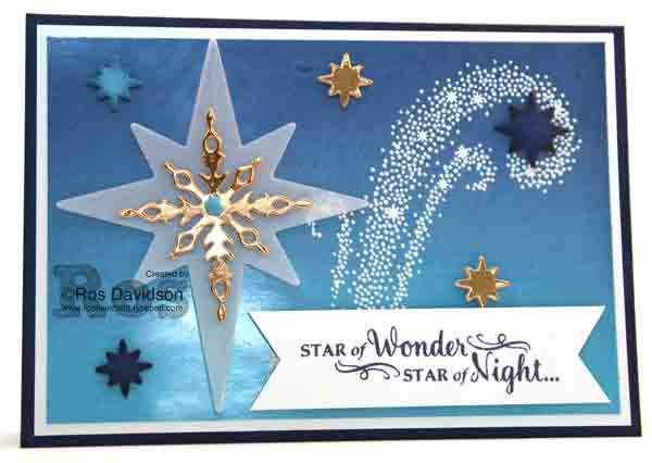 Brayered star of light card, stampin up, brayering, big shot, heat embossing