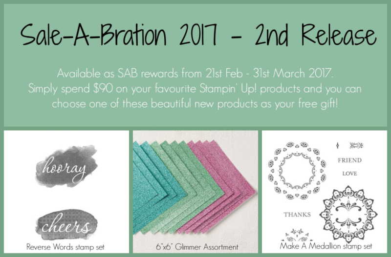 stampin up, sale-a-bration 2nd release, glimmer paper, make a medallion stamp set, reverse words stamp set