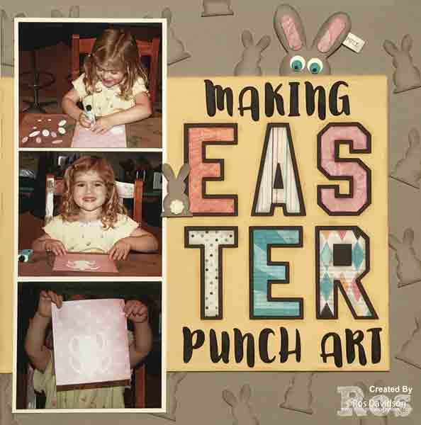 Stampin' Up!, Easter, scrapbook layout, punch art, cupcakes and carousels designer series paper, traditional 12 x 12 scrapbooking, hidden journaling