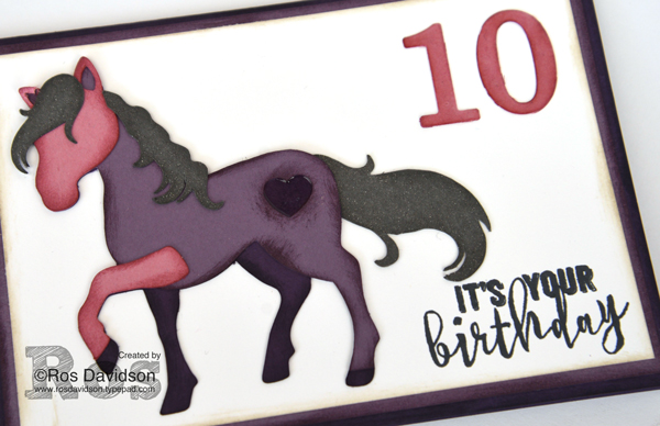 Stampin' Up! 10th birthday card, balloon adventures, big shot, timeless type thinlet dies, wink of stella, 10th birthday