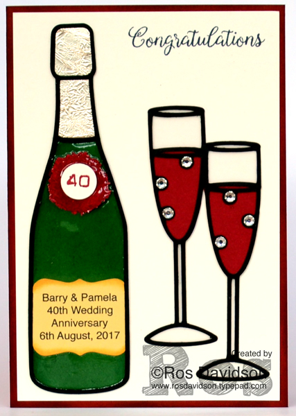 Stampin' Up!, wedding anniversary card, wine, champagne, celebration, 40th wedding anniversary, 40th, labeler alphabet stamp set, beautiful bouquet stamp set