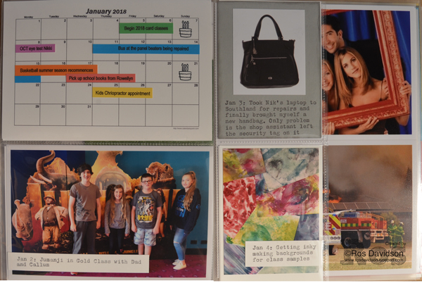 Stampin' Up!, memories and more, scrapbooking, project life style, tabs for everything, calendar, cut page protector, nine news, carrum downs fire