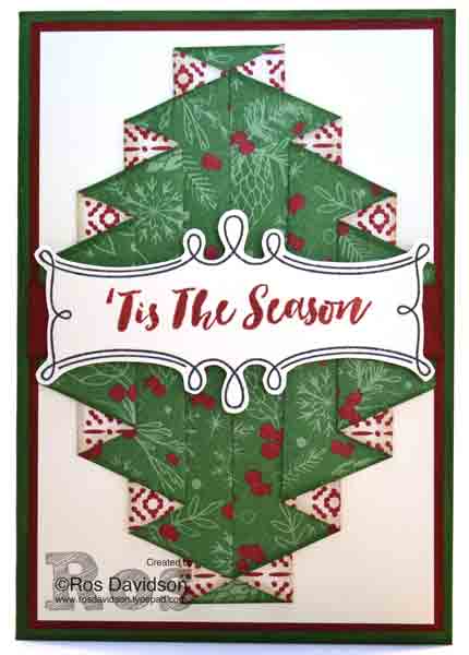 Stampin' Up!, double pleated technique, christmas pines