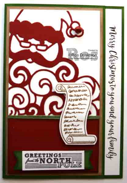 greetings from santa, detailed santa thinlets,Stampin up, big shot, heat embossing, seasonal catalogue