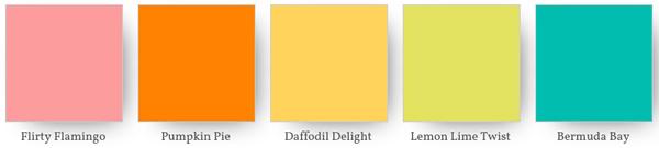 Flirty flamingo, pumpkin pie, daffodil delight, lemon lime twist, bermuda bay, Stampin' Up! colour combination