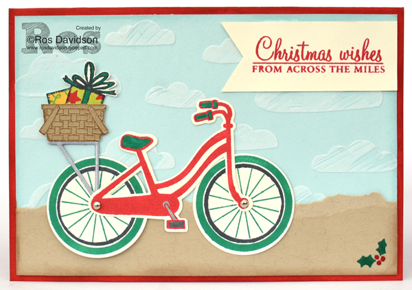 Stampin' Up!, free Christmas card instructions, Heart of Christmas, christmas card, free step by step instructions included, bike ride, build a bike, big shot, birthday delivery, confetti celebration, holly berry happiness, oh what fun, christmas pines, embossing paste, triple banner punch,