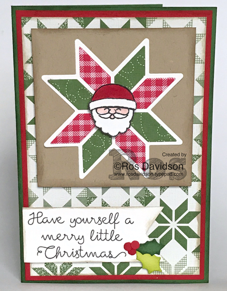 Stampin' Up!, Heart of Christmas cards, free instructions to make Christmas card, christmas quilt stamp set, big shot