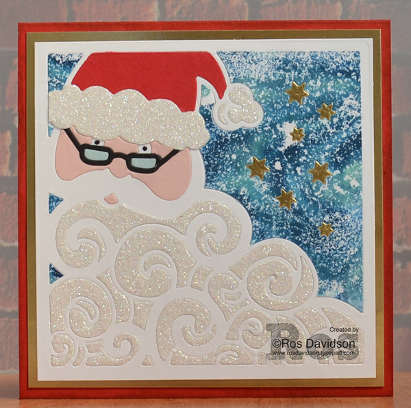 Stampin' Up!, Heart of Christmas cards, free instructions to make Christmas card, detailed santa thinlets, big shot, shaving cream galaxy technique