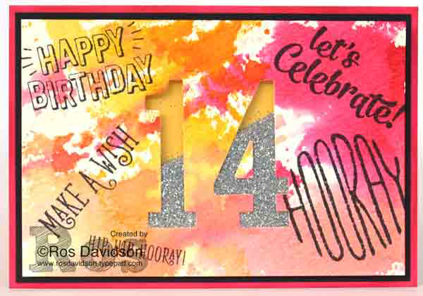 Stampin' Up!, confetti celebration, watercolour background, happy birthday gorgeous, big shot, shaker card, 14th birthday card