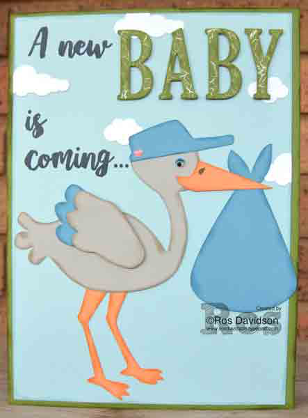 Stampin' Up!, baby shower card, large letter framelits, big shot, silhouette, stork card, baby boy