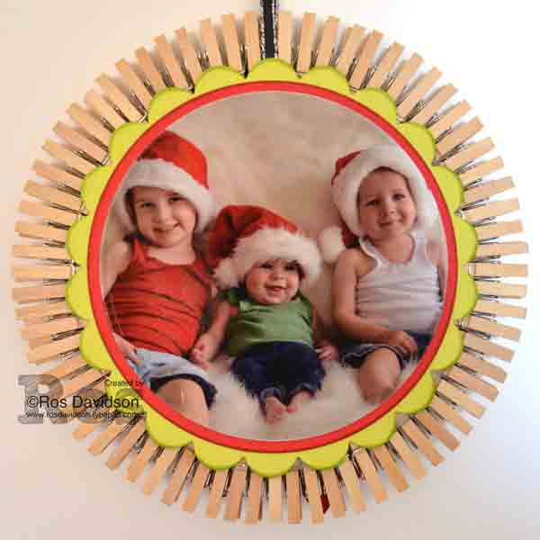Stampin Up!, christmas ornament, nephews, big shot, layering circles framelits, photo ornament, bow builder punch
