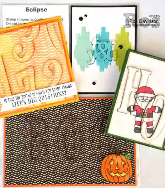 Stampin' Up! monthly techniques classes held in Skye, VIC, eclipse technique, five for all, cookie cutter christmas, seasonal chums, work of art, big shot