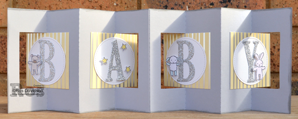 Stampin' Up!, springtime foils speciality designer series paper, sale-a-bration, saleabration, baby moon, stampin blends, brayer, double lever card, baby card, stitched shape framelits, large letter framelits