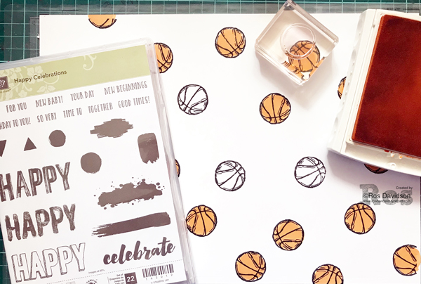 Stampin' Up!, happy celebrations stamp set, basketball thank you card, silhouette, basketball, eclipse technique