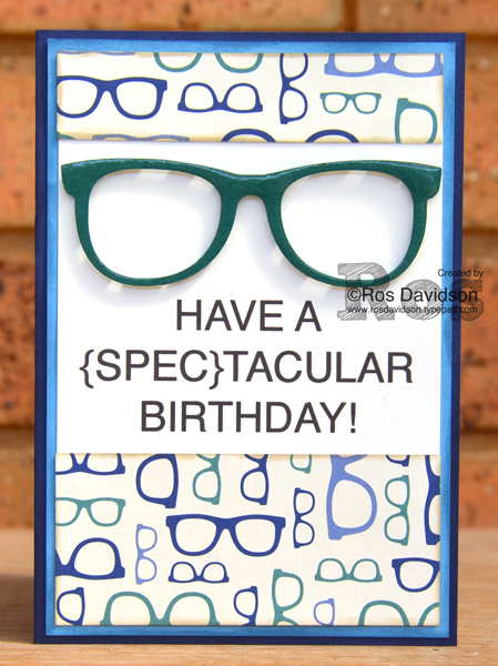 Stampin' Up!, five for all, birthday card, male card, true gentlemen designer series paper, glasses, silhouette