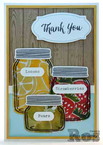 Jar of love, rose wonder, hardwood, Stampin up, fruit stand designer series paper