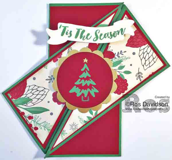 stampin up, diagonal gate fold card, big shot, tin of tags, christmas pines