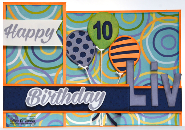 Stampin' Up!, z fold card, birthday bright, balloon adventures, custom card, 10th birthday card, handmade card