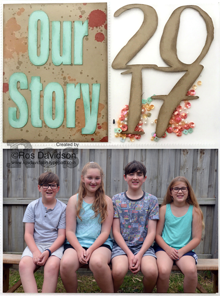 Stampin' Up! Project Life 2017 front cover, shaker panel, gorgeous grunge, kids, shaker, silhouette