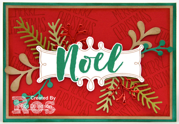 Stampin' Up!, Heart of Christmas, christmas card, Christmas Pines, catalogue CASE, big shot, better together, holly berry happiness, free step by step instructions included