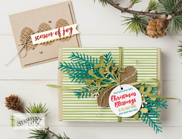 Stampin' Up!, free Christmas card instructions, Heart of Christmas, christmas card, free step by step instructions included, christmas pines, pretty pines thinlets