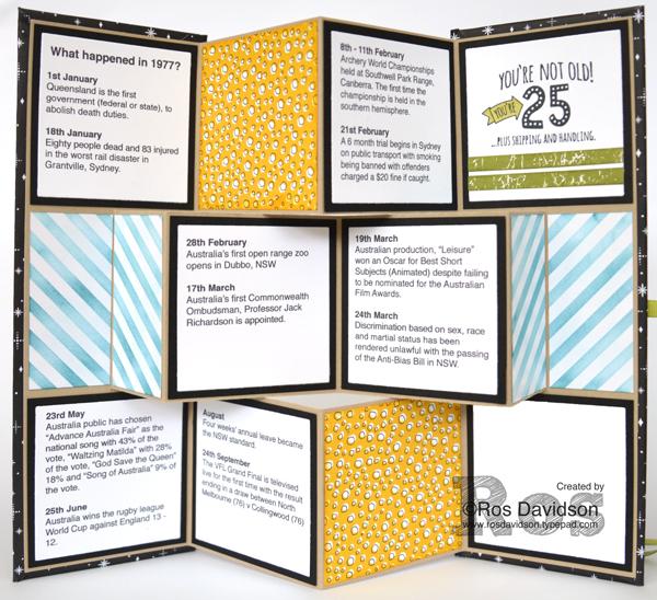 Stampin' Up!, 40th birthday, mini album, 1977, number of years stamp set, five for all stamp set, big shot, large number framelits, color theory designer series paper stack, merry little christmas designer series paper, pick a pattern designer series paper