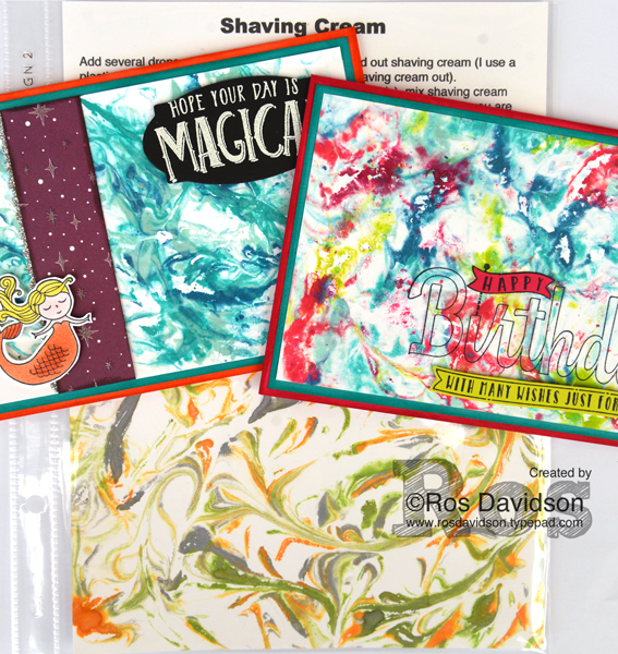 Stampin' Up! monthly techniques classes held in Skye, VIC, shaving cream, birthday wishes stamp set, magical day stamp set