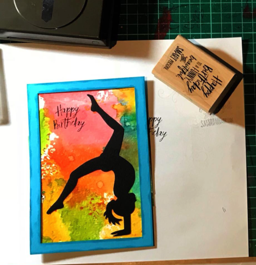 Stampin up, acrobatics, birthday card, shaker card, five for all stamp set
