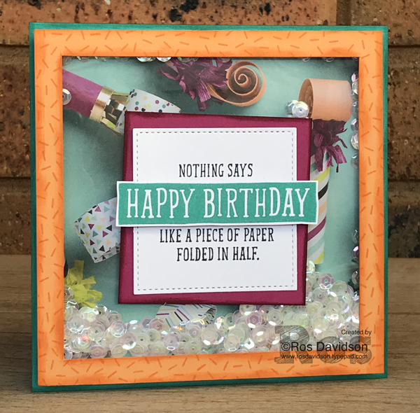 Stampin' Up!, blog hop, birthday card, birthday wit, picture perfect birthday, confetti celebration, shaker card, picture perfect party designer series paper stack, last chance products, retiring products