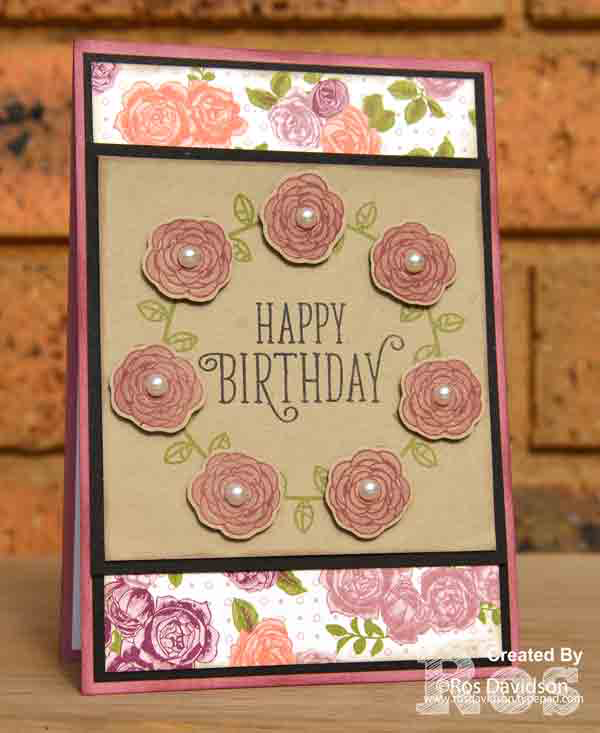 stampin up, card classes, birthday card, located in Skye VIC, bird banter, happy birthday gorgeous, garden in bloom, petal garden designer series paper stack, sweet soiree speciality designer series paper