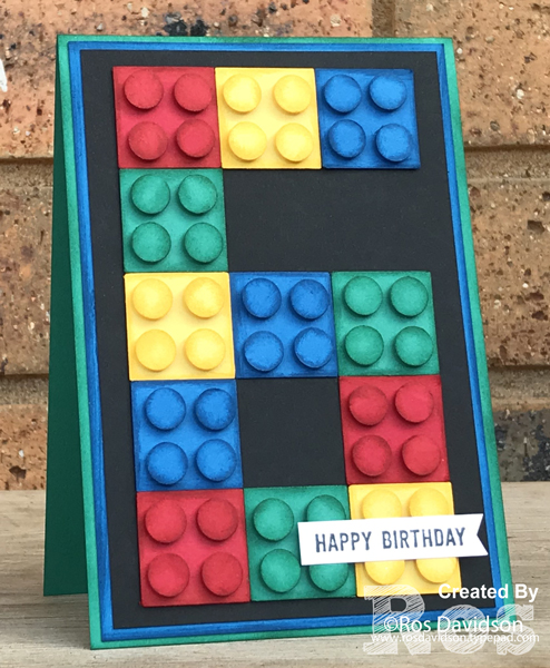 Stampin' Up!, lego birthday card, punch art, confetti celebration, 6, happy birthday,