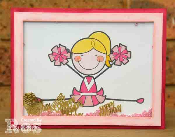 Stampin Up, cheerleader birthday cards, shaker cards, stampin blends