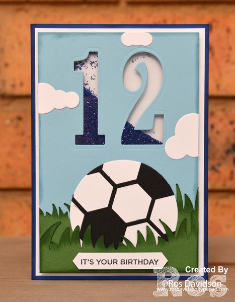 Stampin' Up!, big shot, hexagon hive thinlets, layering circle framelits, up & away thinlits, birthday card, soccer card, shaker card