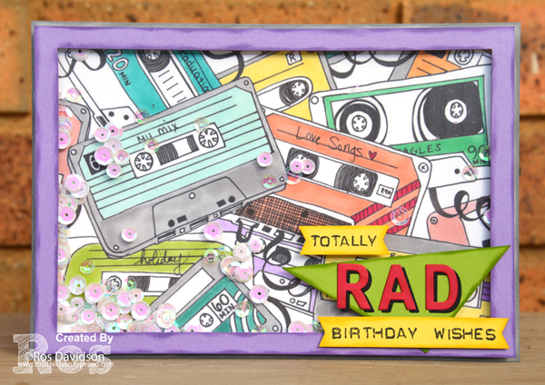 Stampin' blends, 80's music, cassette tape, colouring in, coloring in, shaker card, birthday card,
