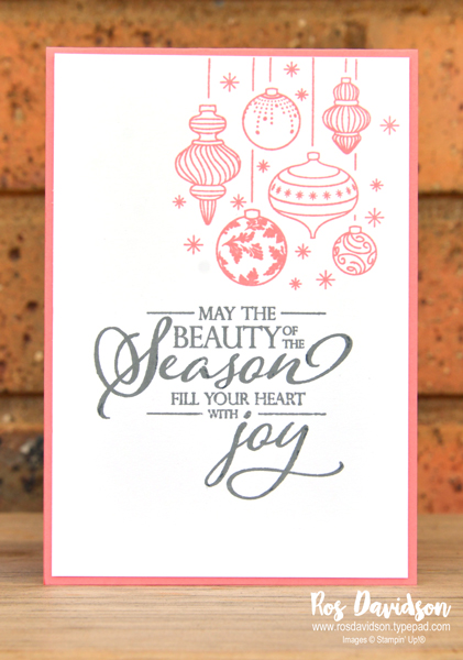 Stampin up, blog hop, heart of christmas, Christmas cards, beautiful baubles, stampin' blends, merry christmas to all, heat embossing