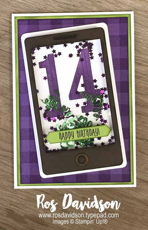 Stampin up, colour creations, blog hop, color coach, colour coach, gorgeous grape, Stampin' Up!, picture perfect birthday, buffalo check, cell phone, mobile phone, shaker card, happy birthday, birthday card, Melbourne Australia, card ideas, big shot, tropical escape DSP, brayer