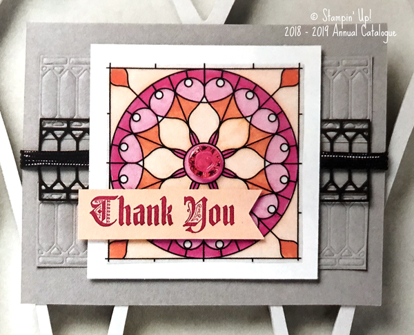 Stampin Up, blog hop, case the catalogue, graceful glass suite, graceful glass designer vellum, painted glass stamp set, big shot, stained glass thinlits, adult colouring in, adult coloring in