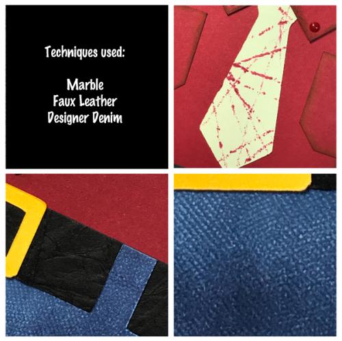 Stampin up, colour creations, blog hop, color coach, colour coach, cherry cobbler, picture perfect birthday, male card, marble technique, designer denim, faux leather