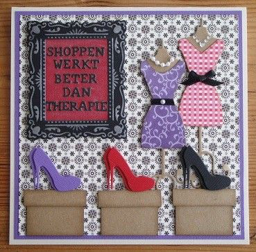 Stampin' Up!, big shot, birthday card, custom order, dresses, shoes, shopping, designer series paper, birthday backgrounds
