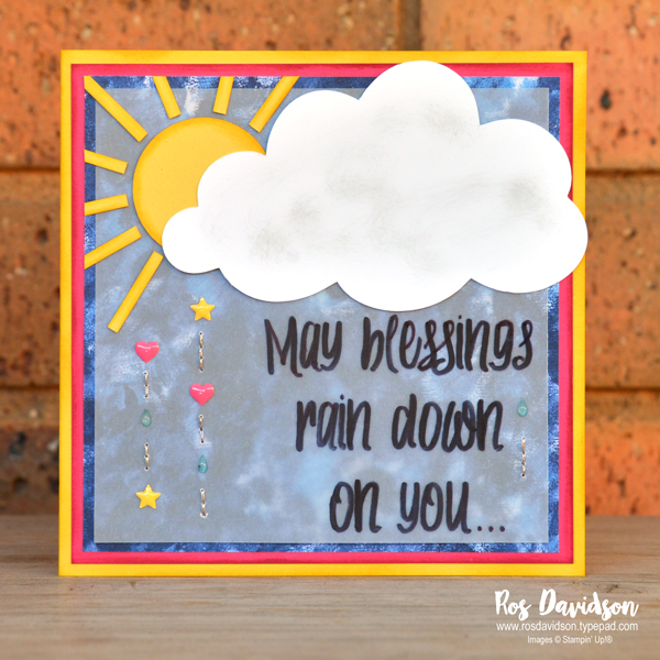 Stampin' Up, cardstock vellum, may blessings rain down on you card,