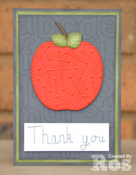 Stampin up, colour creations, blog hop, color coach, colour coach, lined alphabet, big shot, handwriting, thank you, teacher, thank you card