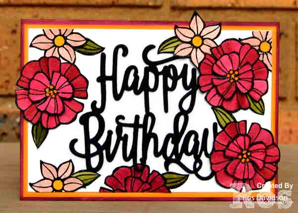 Stampin up, colour creations, blog hop, color coach, colour coach, berry burst, falling flowers, big shot, happy birthday thinlets, watercoloring, watercoloring, broadway birthday, broadway lights framelits, heat embossing