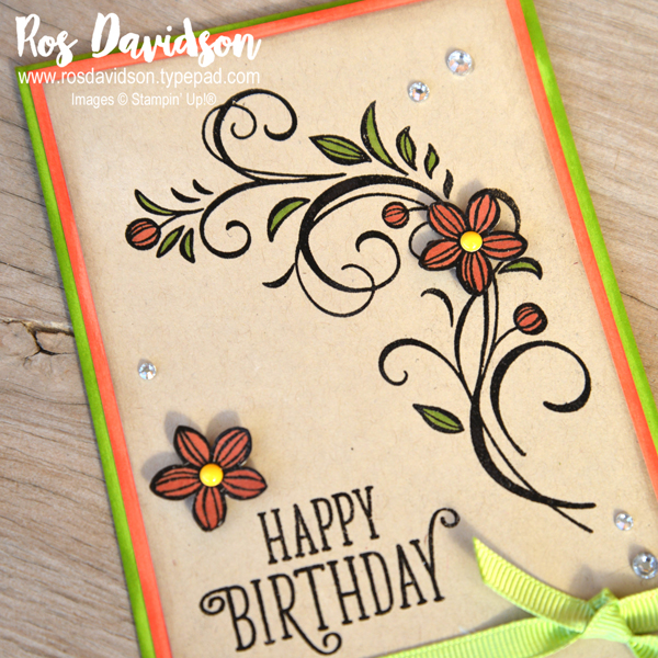 Stampin up, colour creations, blog hop, color coach, colour coach, crumb cake, happy birthday gorgeous, falling flowers, stampin blends, heat embossing