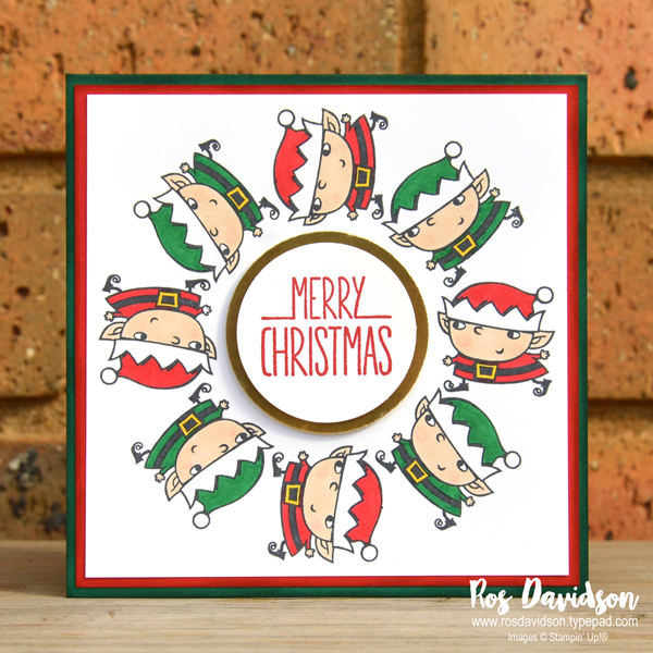Heart of Christmas, Christmas card, blog hop, stampin' blends, stamparatus, stamparatus wreath technique, signs of santa, better together