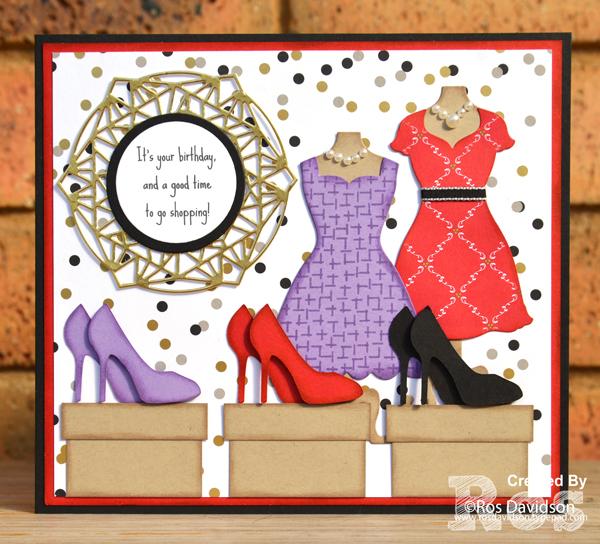 Stampin' Up!, big shot, birthday card, custom order, dresses, shoes, shopping, designer series paper, birthday backgrounds
