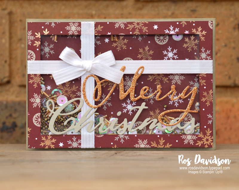 Stampin up, blog hop, heart of christmas, Christmas cards, Melbourne Australia, card ideas, shaker card, big shot, merry christmas thinlets, present card